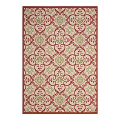 Nourison Caribbean Geo Floral Scroll Indoor Outdoor Rug