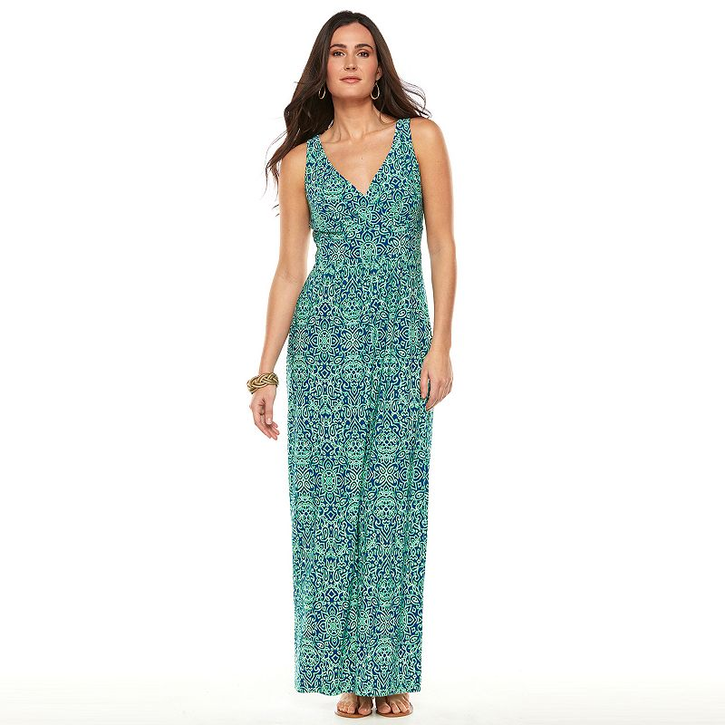 Women's Chaps Printed Empire Maxi Dress