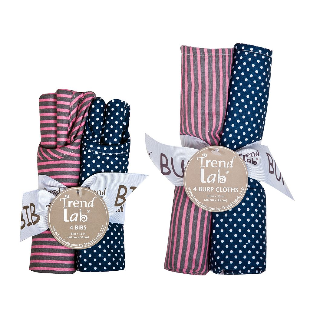 Trend Lab Perfectly Pretty Bouquet Bib & Burp Cloth Set