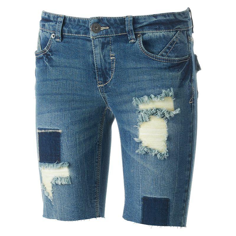 Mudd® Rip & Repair Cutoff Juniors' Bermuda Jean Shorts