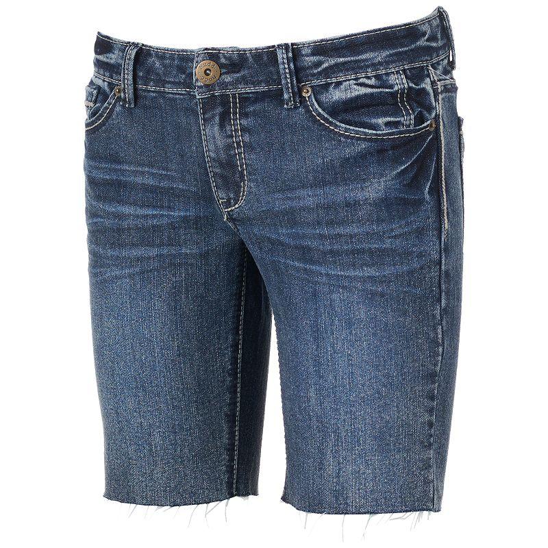 Mudd Destructed Bermuda Cutoff Jean Shorts - Juniors