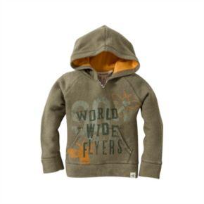 "Baby Boy Burt's Bees Baby Organic ""World Wide Flyers"" Terry Hoodie"