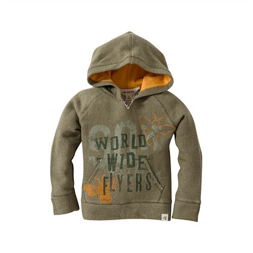 "Baby Boy Burt's Bees Baby Organic ""World Wide Flyers"" Terry Hoodie"
