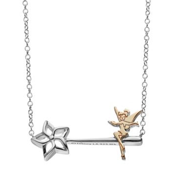 Disney's Tinker Bell Two Tone Sterling Silver Wand Necklace