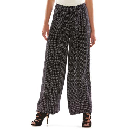 ELLE? Pleated Wide-Leg Soft Pants - Women's