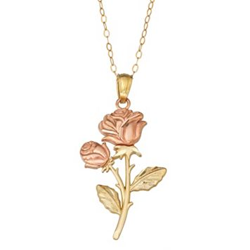 10k Gold Two Tone Flower Pendant Necklace