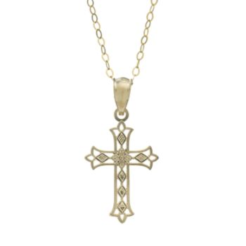 10k Gold Openwork Cross Pendant Necklace