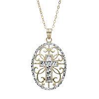 10k Gold Filigree Oval Cross Pendant Necklace