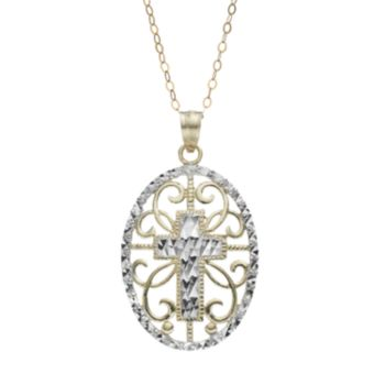 10k Gold Filigree Oval Cross Pendant Necklace