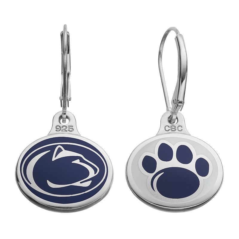 Fiora Penn State Nittany Lions Sterling Silver Team Logo Drop Earrings