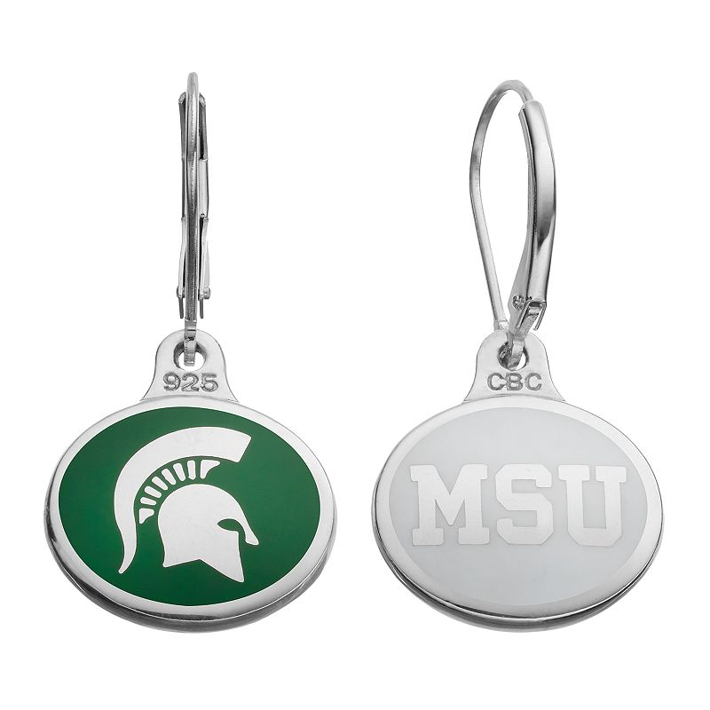 Fiora Michigan State Spartans Sterling Silver Team Logo Drop Earrings