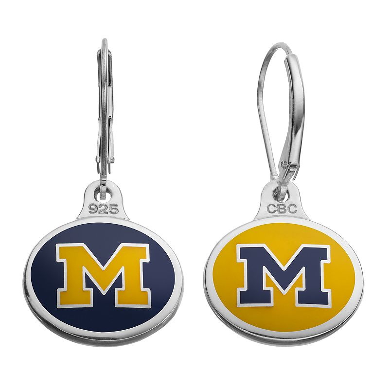 Fiora Michigan Wolverines Sterling Silver Team Logo Drop Earrings