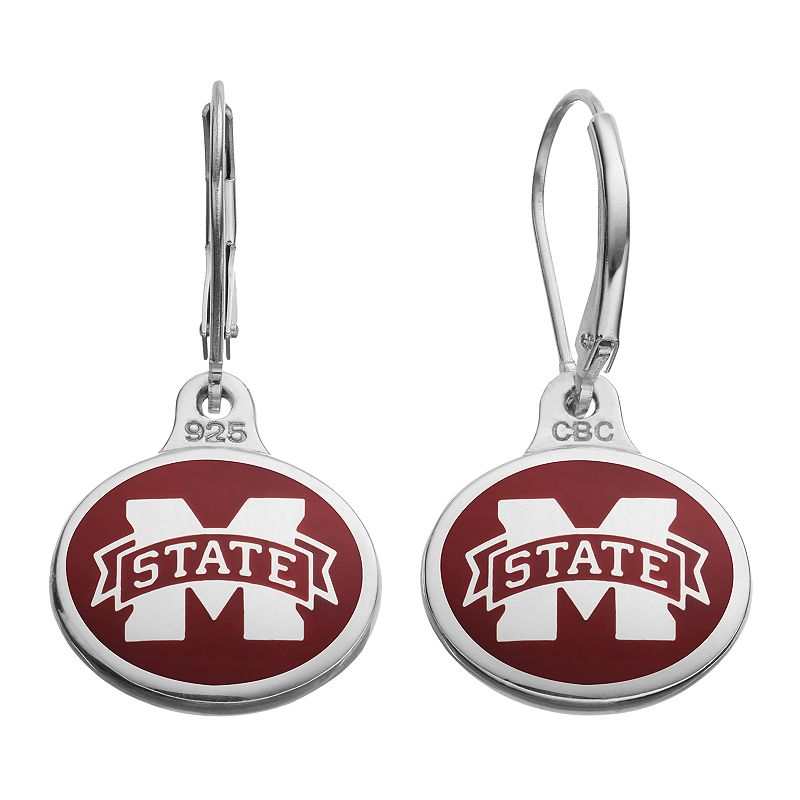 Fiora Mississippi State Bulldogs Sterling Silver Team Logo Drop Earrings
