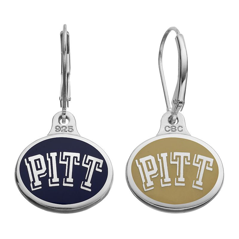 Fiora Pitt Panthers Sterling Silver Team Logo Drop Earrings