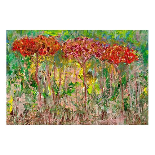 """Red Trees"" Canvas Wall Art"