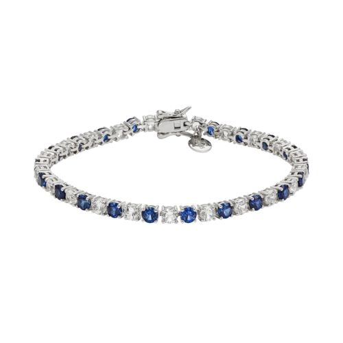 Lab-Created Blue & White Sapphire Sterling Silver Bracelet