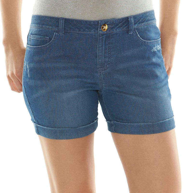 Juicy Couture Cuffed Knit Jean Shorts - Women's