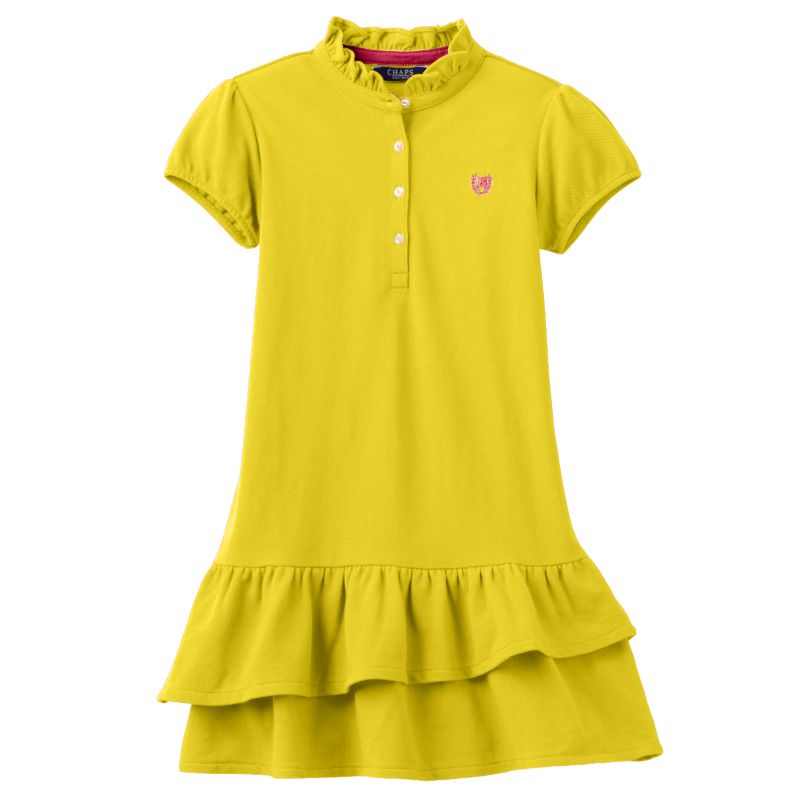 Toddler girl chaps pique polo dress size 3t yellow