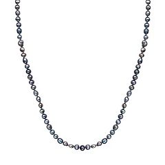 Freshwater by HONORA Dyed Freshwater Cultured Pearl Long Necklace in Sterling Silver (9-11 mm)