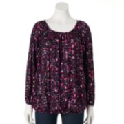 daisy fuentes® Shirred Peasant Top - Women's