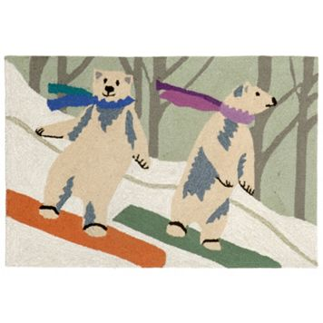 Liora Manne Frontporch Boarding Bears Snow Indoor Outdoor Rug
