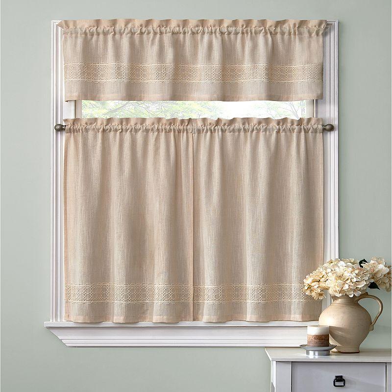 Ehs lana woven 3 pc tier kitchen curtain set for Kohls valances