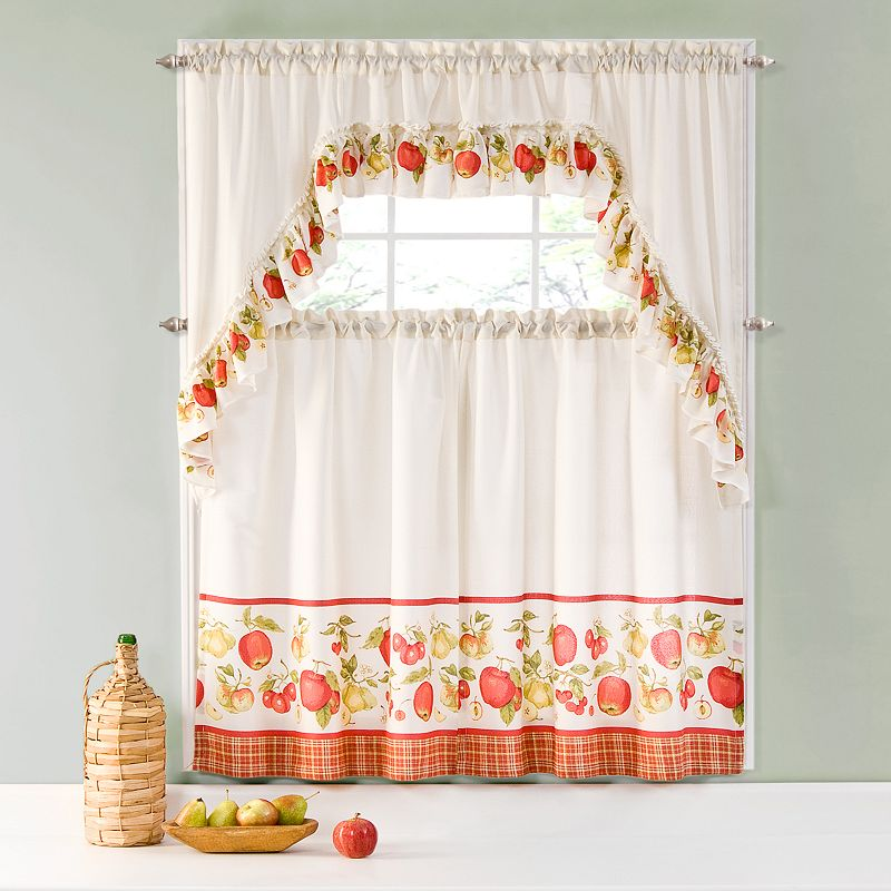 Ehs Apples Swag Tier 3 Pc Kitchen Curtain Set