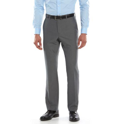 Men's Savile Row Modern-Fit Gray Flat-Front Suit Pants
