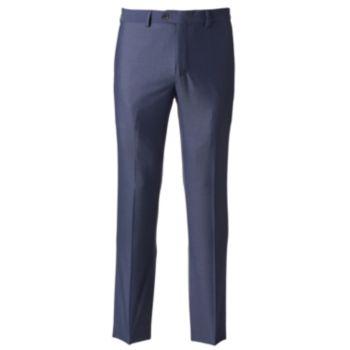 Men's Savile Row Modern-Fit Blue Flat-Front Suit Pants
