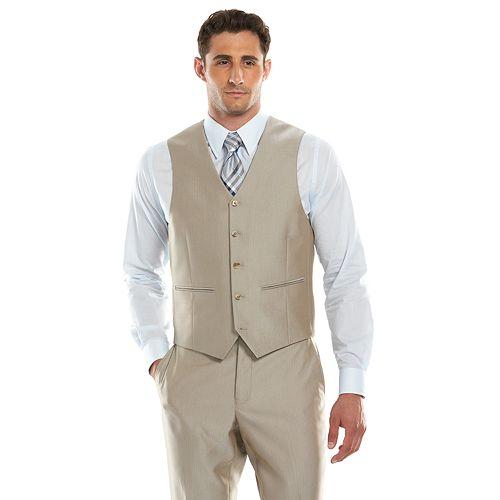 Men's Savile Row Modern-Fit Tan Herringbone Suit Vest
