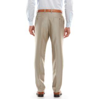 Men's Savile Row Modern-Fit Tan Herringbone Flat-Front Suit Pants