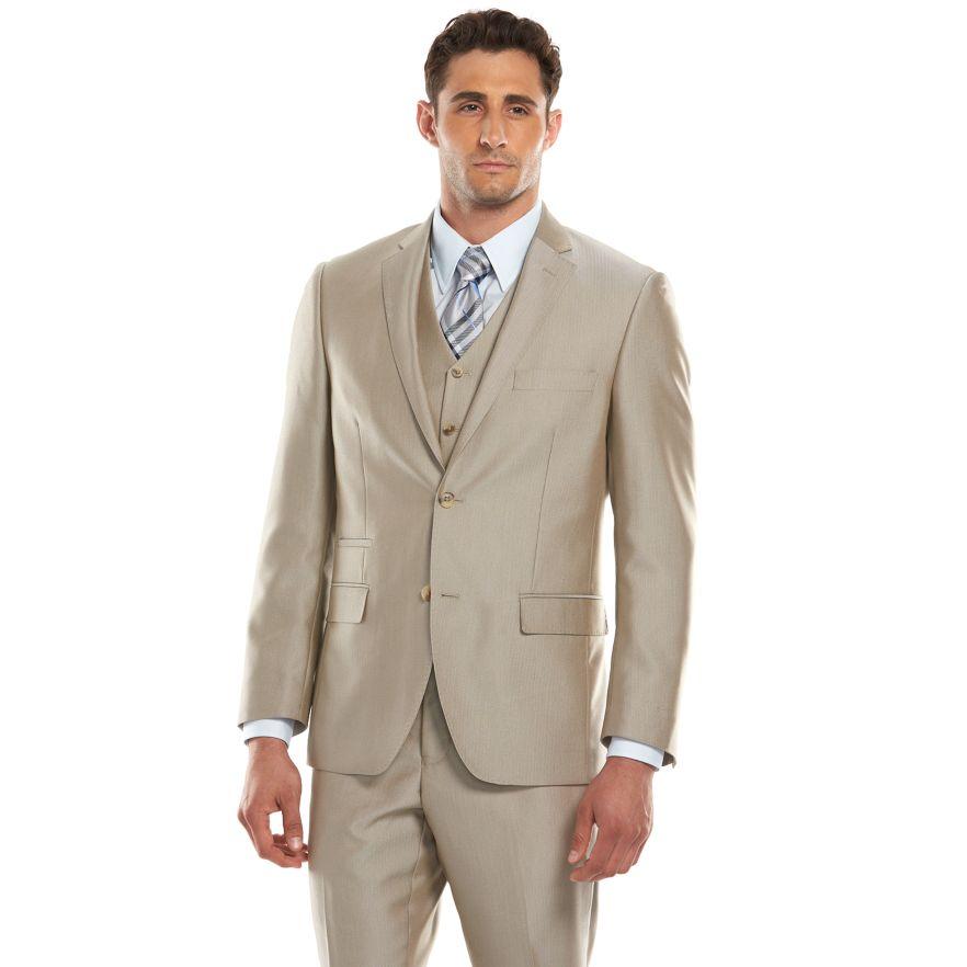 Row Modern-Fit Tan Herringbone Suit Separates - Men