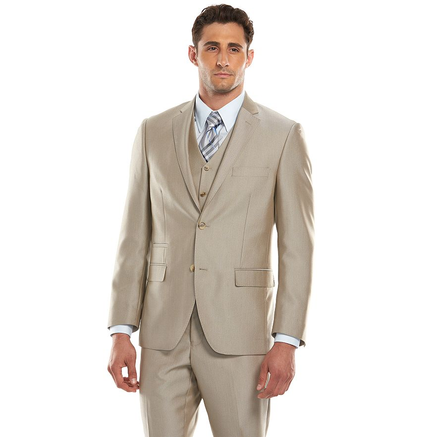 Row Modern-Fit Tan Herringbone Suit Separates - Men