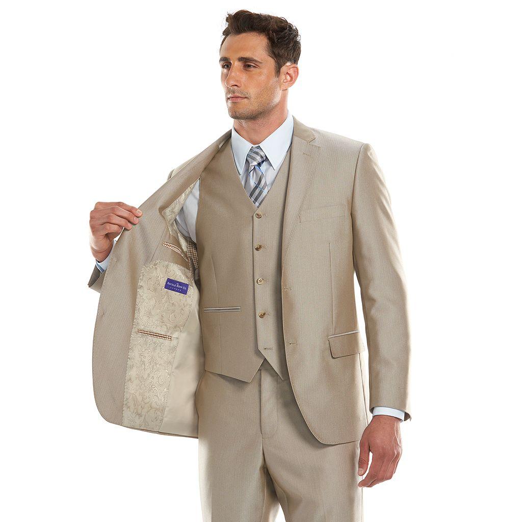 Men's Savile Row Modern-Fit Tan Herringbone Suit Jacket