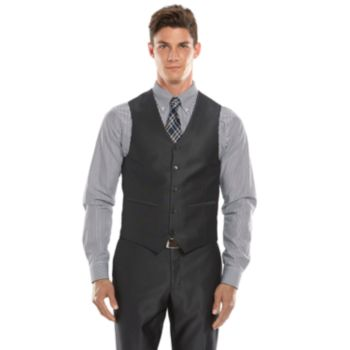 Men's Savile Row Modern-Fit Charcoal Sharkskin Suit Vest