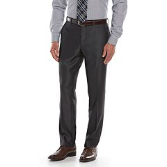 Men's Savile Row Modern-Fit Charcoal Sharkskin Flat-Front Suit Pants