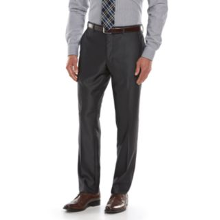 Men's Savile Row Modern-Fit Charcoal Sharkskin Flat-Front Suit Pants
