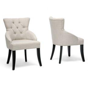 Baxton Studio 2-Piece Halifax Linen Dining Chair Set