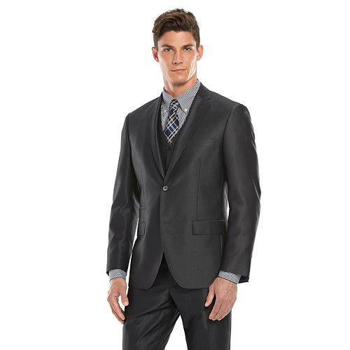 Men's Savile Row Modern-Fit Charcoal Sharkskin Suit Jacket