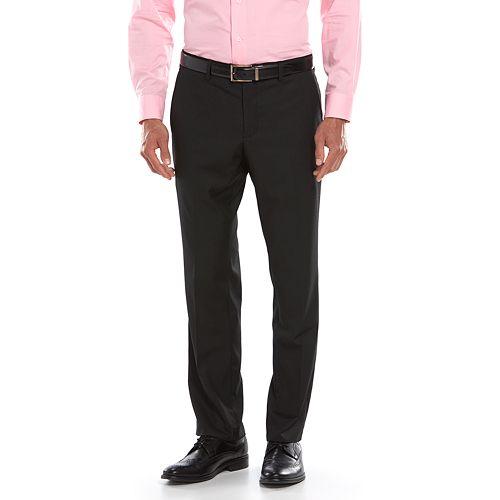 Men's Savile Row Modern-Fit Flat-Front Black Suit Pants