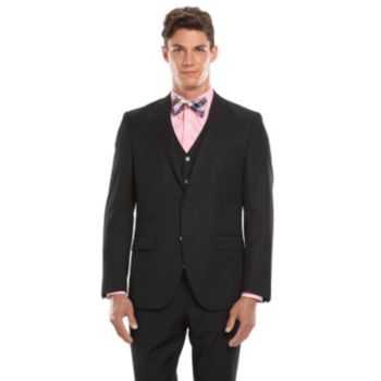 Men's Savile Row Modern-Fit Pick-Stitch Black Suit Jacket