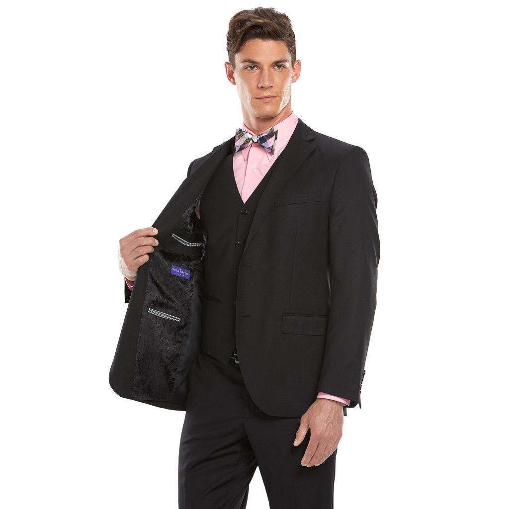 Men's Savile Row Modern-Fit Pick-Stitch Black Suit Jacket