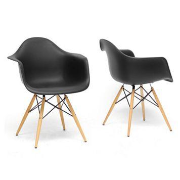 Baxton Studio 2-Piece Pascal Modern Shell Chair Set