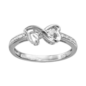 Love Is Forever Diamond Accent Sterling Silver Infinity Heart Ring
