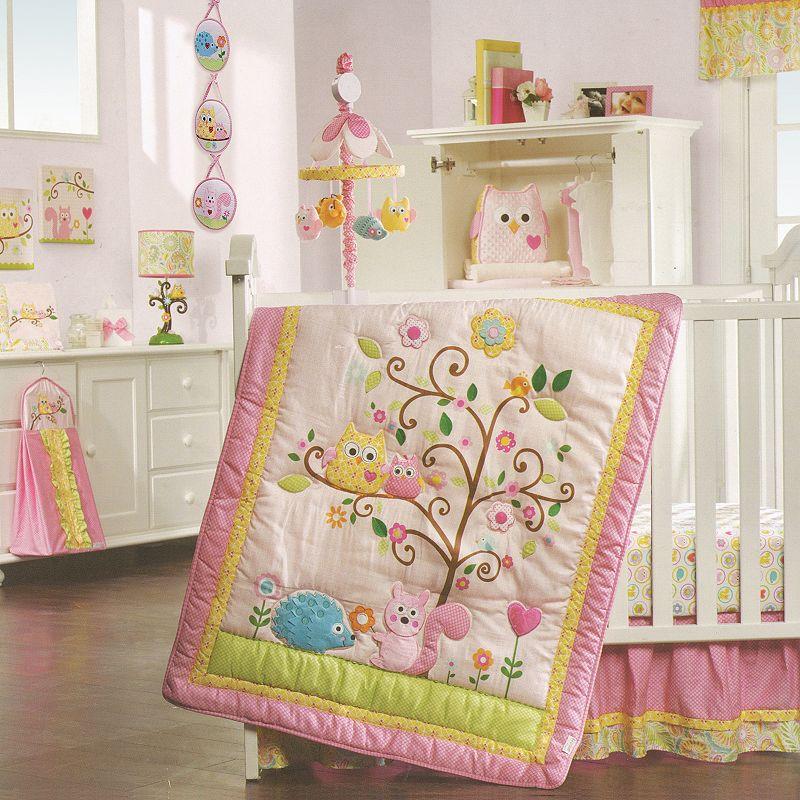 Lambs & Ivy Dena Happi Tree 8-pc. Crib Bedding Set, Pink/Green (Pink/Ivy)