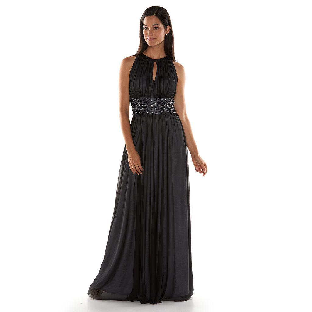 Jessica Howard Beaded Halter Evening Gown - Women's