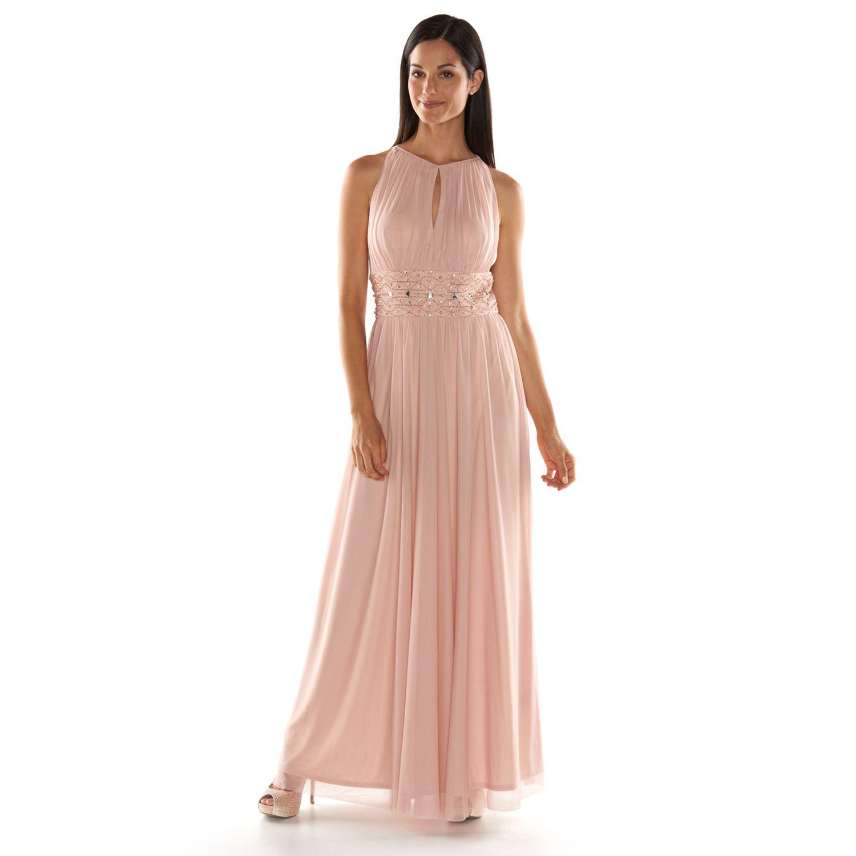 Jessica Howard Beaded Halter Evening Gown - Womens