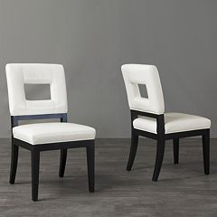 Baxton Studio 2-Piece Faustino Leather Dining Chair Set