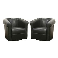 Baxton Studio 2-Piece Julian Faux-Leather Club Chair Set