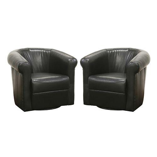 Baxton Studio 2-Piece Julian Faux-Leather Club Chair Set